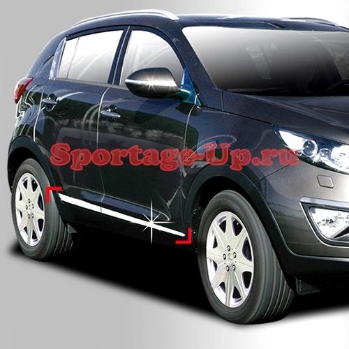 Молдинги на нижние кромки дверей AutoClover, VW Touareg Style, хром